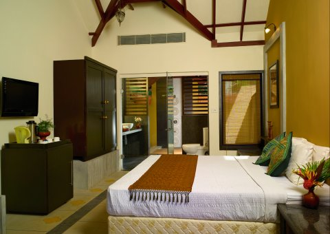 Zimmer des Ayurveda Village Cottages im Poovar Island Resort in Indien