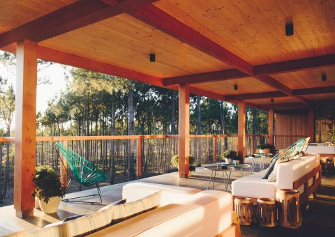 In der offen gestalteten Lounge mit Terrasse genießen Sie die Aussicht auf den Wald